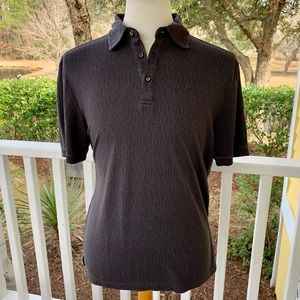 Nat Nast Luxury Charcoal Textured Polo Shirt. Med.